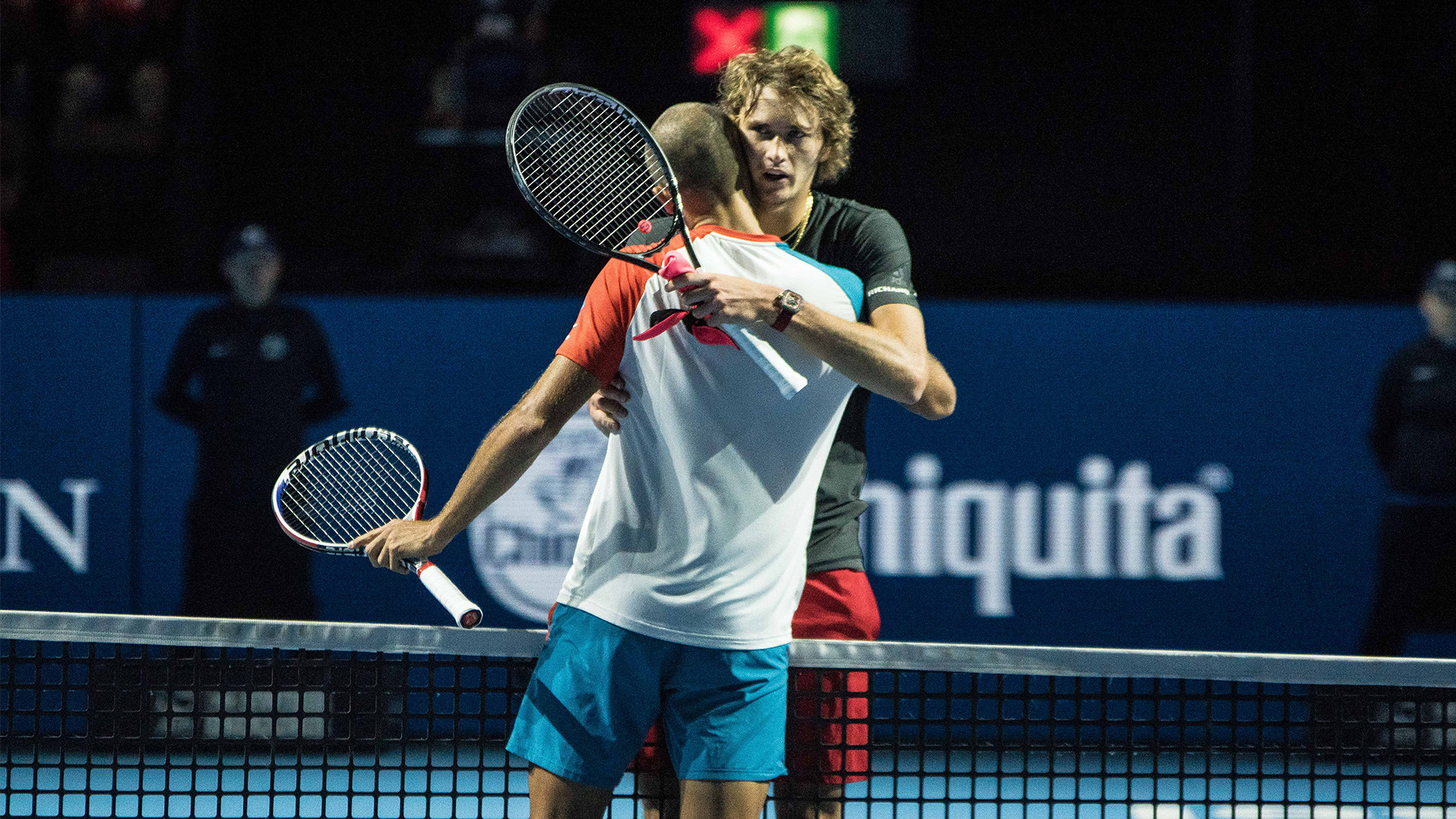 Alexander Zverev, #5 in the ATP rankings congratulates Marius Copil