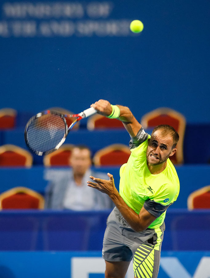 Marius Copil serving at Sofia Open against Robin Haase